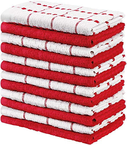 Utopia Towels - 12 Strofinacci da Cucina - Lavabili in Lavatrice (38 x 64 cm) (Rosso e Bianco)