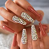 HUIL Uñas postizas Elegance Beige False Nails Natural Medium StilettoFingernails Gold Smile Line Designed Manicure Tips