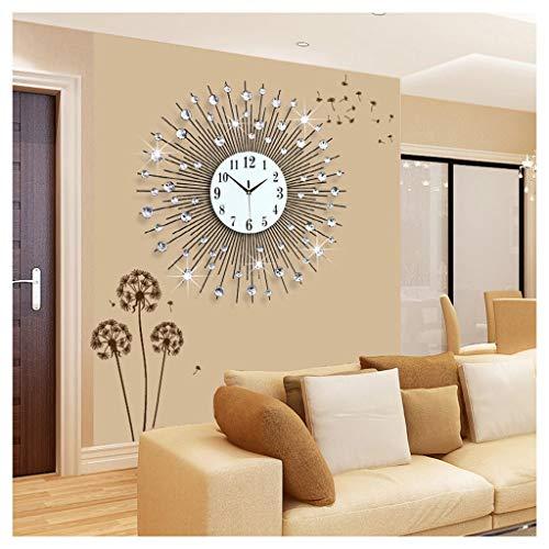 CJY-wall clock 29,5 Pulgadas / 75 cm Diseño Hecho a Mano Diamante Grande con Cuentas de Cristal Jeweled Sunburst Silver Silent Metal Art Reloj de Pared Morden para la decoración,75cm