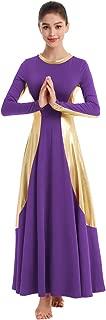 Womens Praise Liturgical Dancewear Long Sleeves Dance Dress Metallic Gold Loose Fit Full Length Tunic Circle Costume