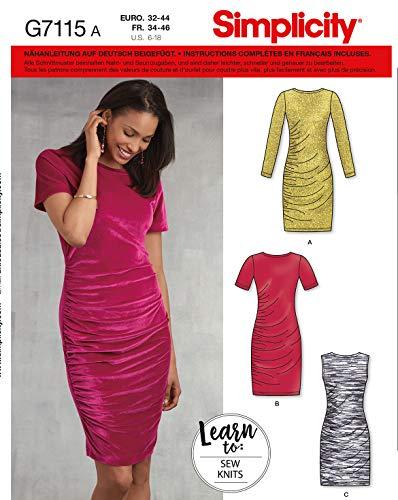 Simplicity Schnittmuster, 7113.H5 -Kleid selber nähen [Damen, Gr. 32-40] auch für Anfänger geeignet