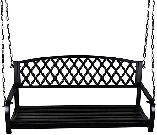 Grepatio All Weather Outdoor Porch Swing, Modern Hanging Patio Swing Bench for Home Garden, Classic Black (Fashion Diamond)