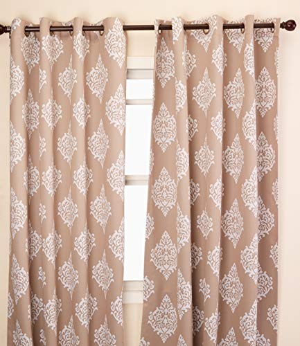 Exclusive Home Curtains Medallion Blackout Grommet Top Curtain Panel Pair, 52x96, Taupe, 2 Count