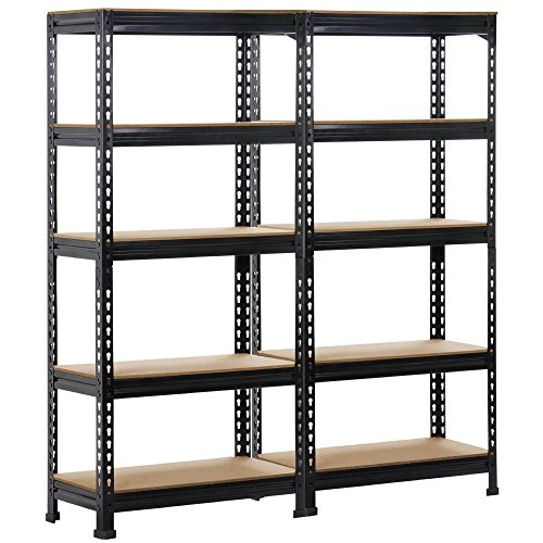 Yaheetech 2 x Heavy Duty Black 5 Tier Garage Shed Storage Shelves Shelving Units Metal Boltless Industrial Racking, 150cm x 70cm x 30cm
