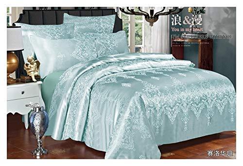 Zara's Bettwäsche-Set mit Kissenbezügen und Spannbettlaken, Jacquard, für Doppel- und King-Size-Betten, Blaugrün
