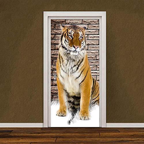 BXZGDJY deurbehang, driedimensionaal tijger-deurbehang, zelfklevend 3D-deurposter, zelfklevende 3D-deur-raam-behang, verwijderbare deur-decoratie-plakaat muursticker voor doe-het-zelver, deur 95X215CM