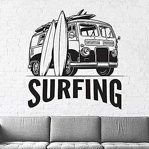 Surf Pared Calcomanía Tabla De Surf Arte Pared Pegatina Playa Deportes Vinilo Surf Regalo Niño Surf Muñeco De Nieve 67X68Cm
