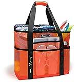 VIFUUR Mesh Beach Bag Large Toy Beach Tote Bag MAX Capacity 40L 8 Oversized Pockets Foldable Lightweight Grocery, Picnic Bag Orange/Black