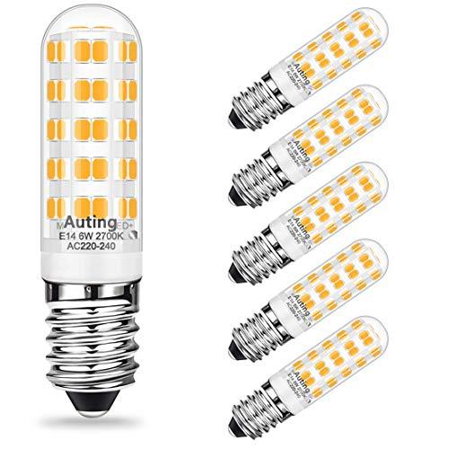 AUTING E14 Led Lampen,6W Led Leuchtmittel Ersatz für 60W Halogenlampe,Warmweiss 2700K 500LM E14 Led Mais Birnen,Nicht Dimmbar E14 LED Glühbirnen,360°Abstrahlwinkel für Kronleuchte, Wandlampe,6er Pack