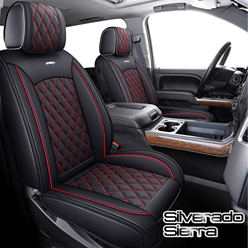 Aierxuan Seat Covers for Cars Full Set Chevy Silverado GMC Sierra Pickup 2007-2021 1500 2500HD 3500HD Crew Double Extended Cab Waterproof Leather Seat Protectors (Full Set, Black-Red)