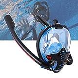 LJXWXN Máscara de Buceo con esnórquel de Cara Completa Esnórquel Doble con Sistema de respiración avanzado antifugas, máscara de natación panorámica con Vista al mar de 180 Grados,Rojo