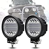 Redonda Offroad Flood lumière, 72W reflector faro de trabajo ligero faros de trabajo luz antiniebla de foco LED luz de circulación diurna para SUV ATV camión barco tractor