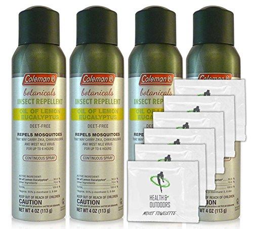 Coleman Botanicals Lemon Eucalyptus Insect Repellent DEET Free - 4oz. Continuous Spray - Pack of 4 - w/ (6) Healthandoutdoor Hand Wipes