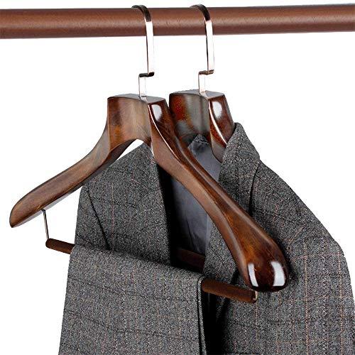 DGHJK Packung mit 10 robusten Holzbügeln Kleider Anzug Hose Jacke mit extra breiter Schulter für platzsparende Schranktrockner
