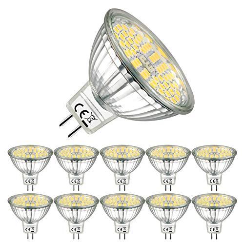 EACLL Bombillas LED GU5.3 4000K Blanco Neutro 6W Fuente de Luz 595 Lúmenes Equivalente 75W Halógena. 12V Sin Parpadeo MR16 Focos, 120 ° Spotlight, Blanca Neutra Natural Lámpara Reflectoras, 10 Pack