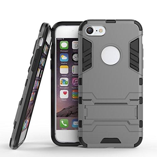 BAIYUNLONG Funda Protectora, para la Caja del teléfono del Soporte del Soporte del iPhone 7, la Cubierta Posterior del Soporte ascitado, la Cubierta Protectora (Color : Gray)