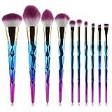 Coshine 10pcs Unicorn Diamond Makeup Brush Set Professional Foundation Powder Cream Blush Brush Kits (Unicorn Rainbow)