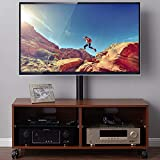 Rfiver Entertainment Center Wood Media TV Stand with Swivel Mount and Rolling Wheels for 32'-65' TVs, Console Storage Cabinet for Gaming Consoles, Xbox, Media Component, Streaming Devices, Walnut