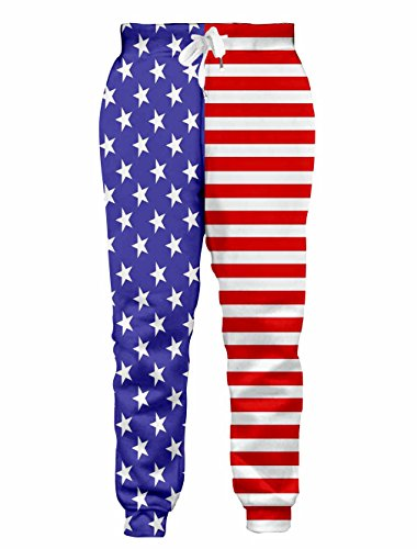 Goodstoworld Mens Womens 3D Jogger Track Long Pants USA Patriotic Stripes Active Athletic Training Sweatpants Workout Trousers L