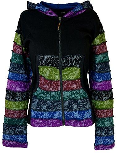 Guru-Shop Goa Patchwork Jacke - Schwarz, Damen, Baumwolle, Size:M/L (38), Boho Jacken, Westen Alternative Bekleidung