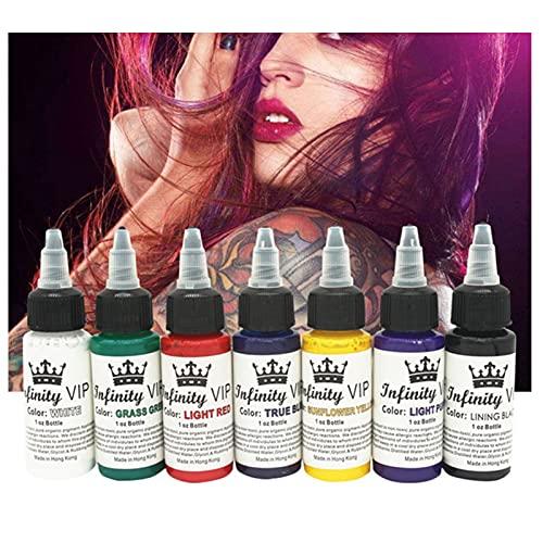 7 colores básicos del artista del tatuaje conjunto de tintas tatuaje y arte corporal maquillaje permanente tatuaje kit de pigmento microbicida Suministros de tatuaje 1 oz (30 ML)
