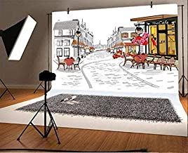 Baocicco Street Views in Old City Hand Drawn Backdrop 10x8ft Photography Background Cafe Shop Architectural Background Historic Buildings Artwork Valentines Holiday Wedding