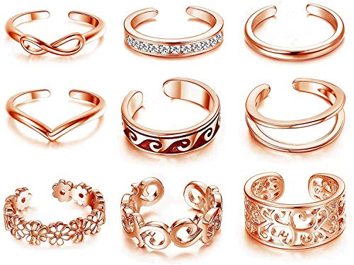 Finrezio 9Pcs Adjustable Open Toe Rings for Women Girls Knuckle Rings Set Foot Ring Vintage Boho Jewellery Silver/Rose/Gold Tone
