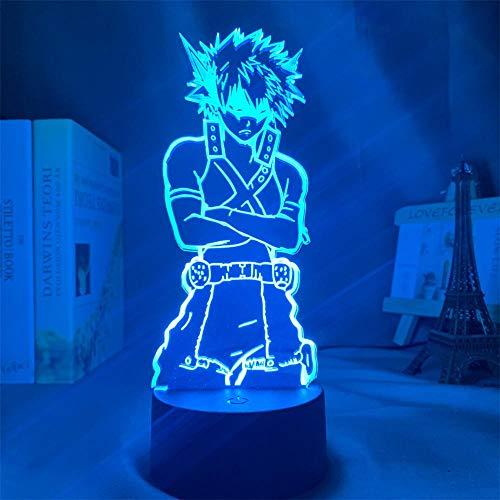 Lámpara 3D de ilusión con luz 3D My Hero Academia F táctil de mesa lámpara de escritorio para dormitorio de niños, cargador USB, regalos bonitos para cumpleaños, Navidad, día de San Valentín