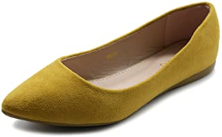 Ollio Womens Ballet Comfort Light Faux Suede Multi Color Shoe Flat