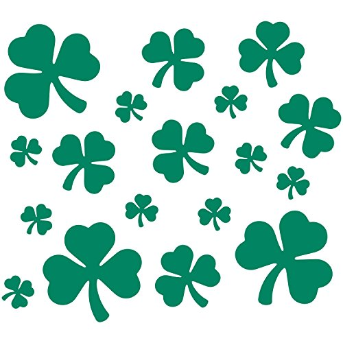 LiteMark Removable Green Assorted Shamrock Decal Stickers Walls, Ceiling Floor - Pack of 18