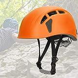 DAUERHAFT Casco de Escalada Ligero y Duradero Casco Seguro Interior Suave para montañismo, exploración, Escalada, protección para la Cabeza, etc.con Cuatro Tarjetas de Faros(Orange)