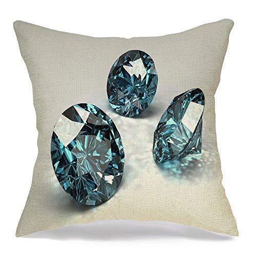 shenhaimojing Funda De Almohada,Funda De Almohada Cuadrada Piedra Azul Cielo Diamantes Belleza Cáustica Alejandrita Aguamarina Industrial Joyas En Quilates Tanzanita