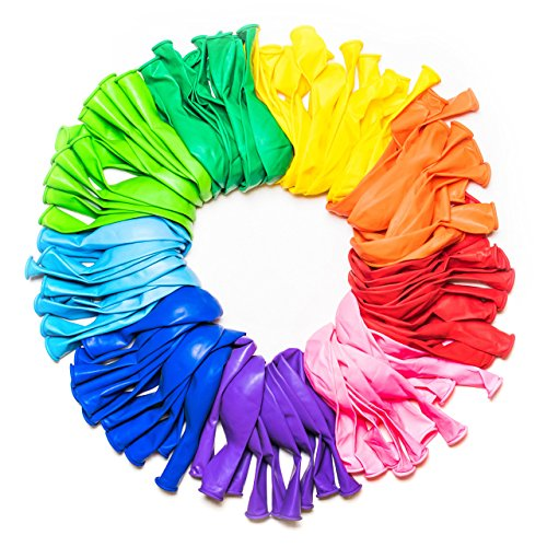 Dusico Balloons Rainbow Set (100 Pack) 12 Inches, Assorted Bright Colors, Made With Strong Multicolored Latex, For Helium Or Air Use. Kids Birthday Party Decoration Accessory
