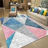 AU-SHTANG Alfombra Gateo Bebe Alfombra Rosa, Azul con diseño de triángulo, sofá fácil de Mantener, Alfombra a Prueba de Manchas y Que no se decolora alfombras Baratas -Rosa_Los 80x160cm