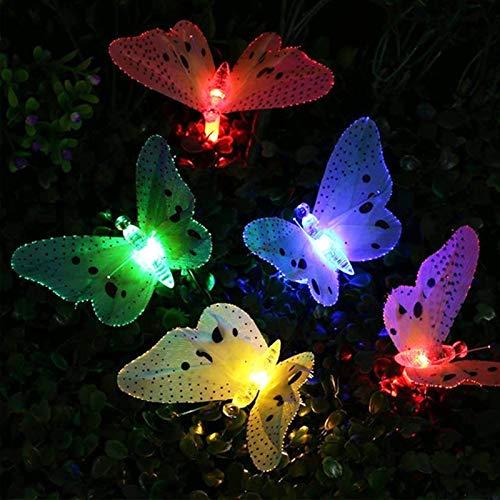 FANGNVREN Solar Lights Outdoor Garden, 12/20 Led Solar Powered Butterfly Fiber Optic Fairy String Lights Waterproof Christmas Plants Decoration Lights,20 LED