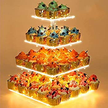 Cupcake Stand - Premium Cupcake Holder - Acrylic Cupcake Tower Display - Cady Bar Party Décor - 4 Tier Acrylic Display for Pastry + LED Light String - Ideal for Weddings Birthday  Yellow Light