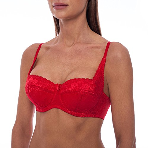 frugue Women's Sexy Push Up Balconette Lace Shelf Bra Red 36 F