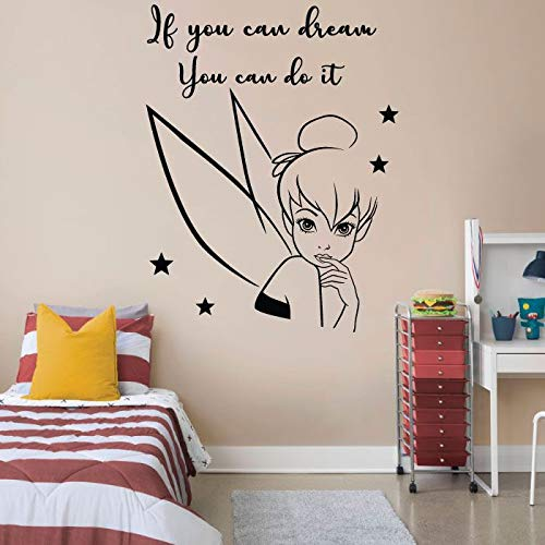Beautiful Elegant Tinkerbell Fairy Pixie Dust Tinkerbell Disney Movie Character Tinkerbell Silhouette Vinyl Wall Art Sticker Decoration Decal For Home Kids Baby Girls Childrens Room Size (40x40 inch)