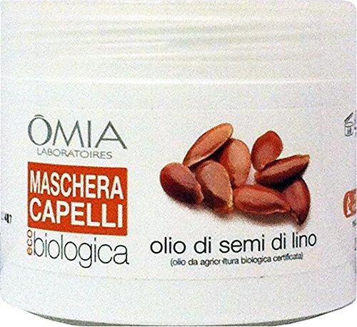 Omia - Mascarilla para el cabello biológica, aceite de semillas de lino, 250 ml