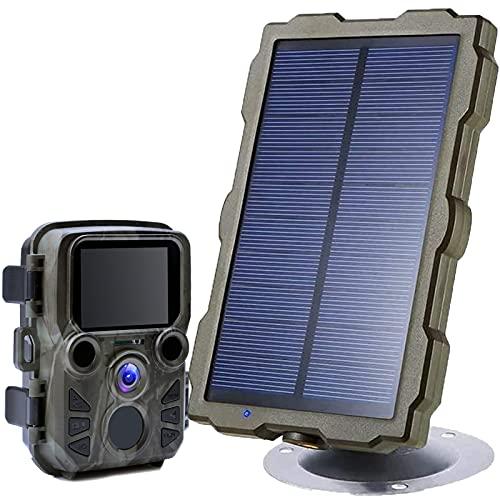 sZeao Panel Solar Portátil con Mini Cámara De Caza 1080P 0.45S Velocidad De Disparo IP66 Lente Gran Angular De 120 ° A Prueba De Agua para Vida Silvestre Al Aire Libre