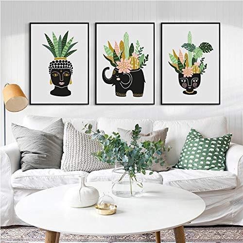 Geiqianjiumai Tropische Zimmerpflanzen und Blumen in Keramiktopf Poster Leinwand Moderne und stilvolle Tropische Dekoration rahmenlose Malerei 50x70cm