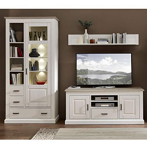 Lomadox Landhaus Wohnzimmer Media-Wohnwand mit LED-Beleuchtung in Pinie weiß mit Abs. Taupe