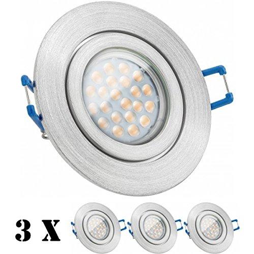 3er IP44 LED Einbaustrahler Set Aluminium natur mit LED GU10 Markenstrahler von LEDANDO - 5W - warmweiss - 60° Abstrahlwinkel - Feuchtraum/Badezimmer - 50W Ersatz - A+ - LED Spot 5 Watt - Einbauleuc