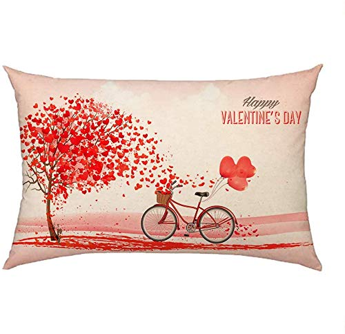 4TH Emotion Valentines Day Throw Pillow Cover Cushion Case for Sofa Couch Red Tree and Love Bicycle Home Decoration 12 x 20 Inch Cotton Linen