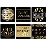 Big Dot of Happiness Roaring 20's - Funny 1920s Art Deco Jazz Party Decorations - Drink Coasters - Set of 6