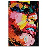 Pintura de lienzo de cara de niña abstracta moderna acuarela arte de la lona arte de graffiti carteles e impresiones murales sin marco pinturas decorativas en lienzo N35 40x60cm
