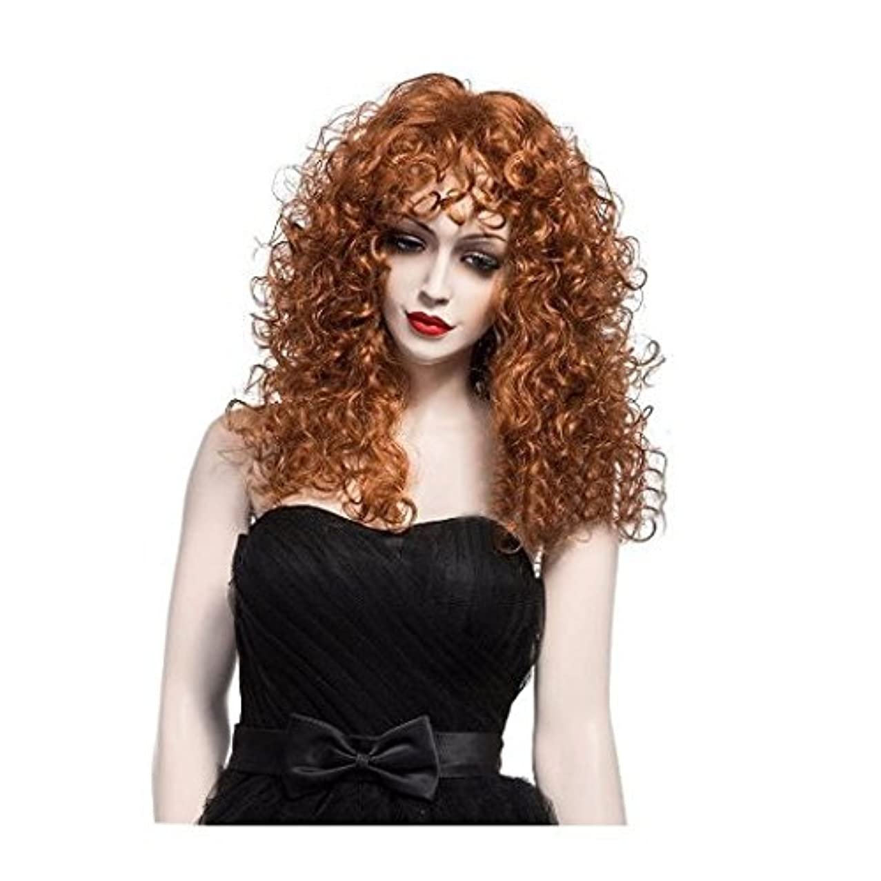 MELADY?(Free Cap)22'' Fashion Casual Brown Long Curly Hair Synthetic Women Girls Lady Hair Replacement Wigs