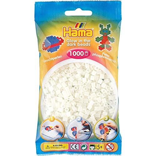 Hama Perlen 207-55 Bügelperlen Beutel mit ca. 1.000 Midi Bastelperlen mit Durchmesser 5 mm in Leuchtfarbe grün, kreativer Bastelspaß für Groß und Klein