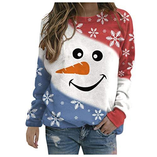 Lazzboy Damen Pullover Frauen Weihnachten Schneemann Sweatshirts Thermal Crewneck...