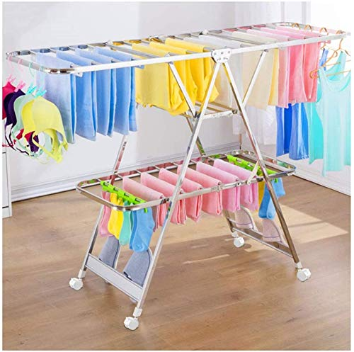N/Z Home Equipment Electric Heated Clothes Airer Dryer Airer Clothes Airer Winged Folding Clothes Drying Racks with Wheels Easy Storage 150cm (Size : 130cm)